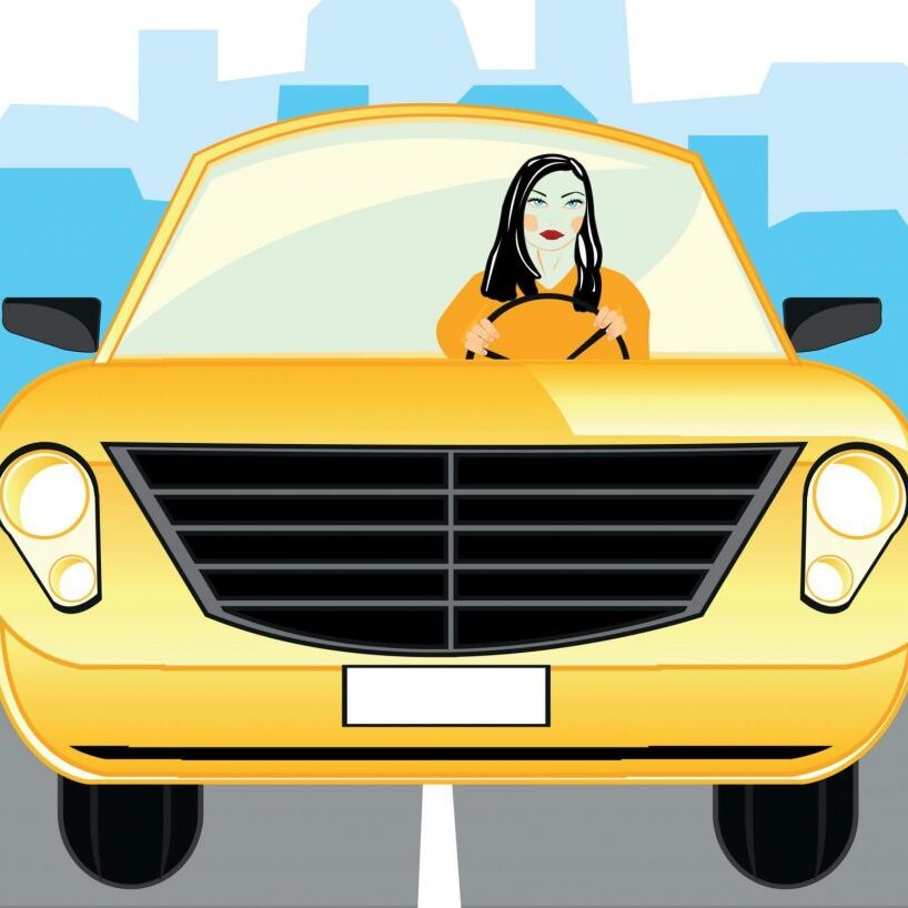 Graphical image of a woman sitting in a yellow car with a background of a city with blue buildings